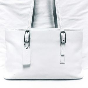Coach White Leather Legacy Tote Bag